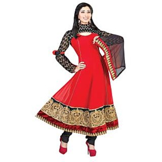 First Loot Golden Paisely Motif Embroidered Velvet Bordered Georgette Anarkali Suit