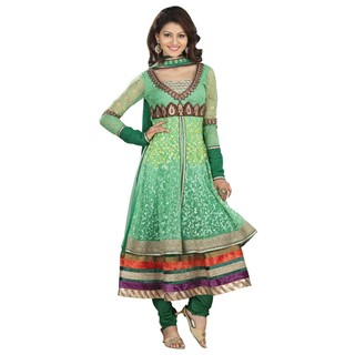 First Loot Stylish Dual Layer Embroidered Anarkali Suit
