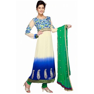 First Loot Blue Faux Georgette Embroidered Anarkali Dress