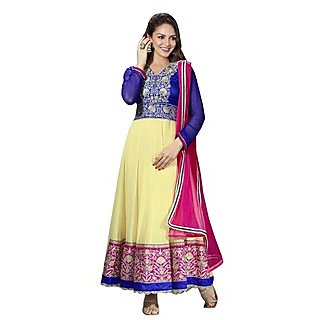 First Loot Contast Color Golden Embroidery Anarkali Suit