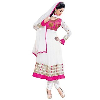 First Loot Outsatnding Pink And White Combined Anarkali