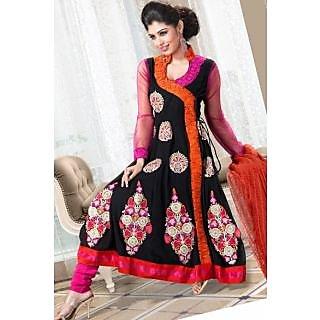 39c63703aef3 Ladies Georgette Anarkali Dress Material Suit Pink And Black (Unstitched)