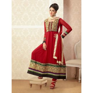 Ladies Designer Cotton Ready Made Anarkali Suit Red And Golden