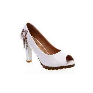 Ladies Polyurethane Heel Sandals White And Brown