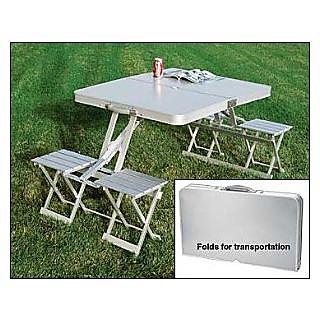 EI Aluminium Portable Folding Picnic Table & Chairs Set With Umbrella