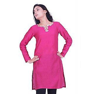 Ladies Beautiful Designer Silk Kurti Pink