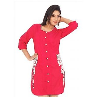 Ladies Beautiful Designer Silk Kurti Red