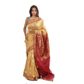 Banarasi Handloom Cream Leaves Silk Saree (BS036)