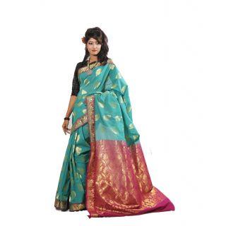 Banarasi Handloom Sea Green Silk Saree (BS057)