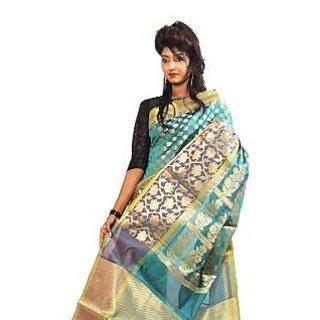 Banarasi Handloom Multi Blue Silk Saree (BS063)