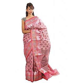 Banarasi Handloom Attractive Pink Silk Saree (BS068)
