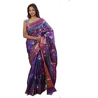Banarasi Handloom Purple Shiny Silk Saree (BS085)