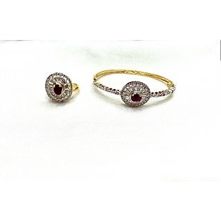 Bijou American Diamond Bracelet  Ring Combo Red