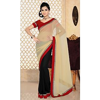 Ladies Gorgeous Georgette Embroidered Saree Off White And Black