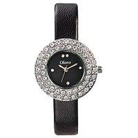 Oleva Round Dial Black Leather Strap Womens Quartz Watch