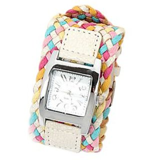 Multicolored Braided Band Watch Bracelet