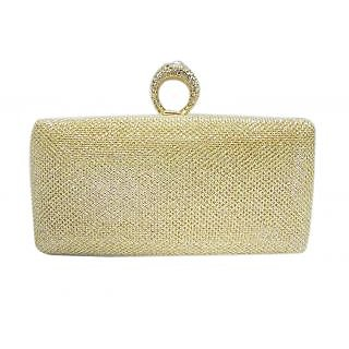 Ladies Partywear PU Clutch Golden