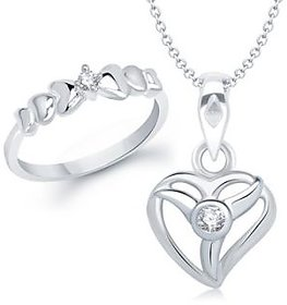 VK Jewels Divine Heart Shape Combo Ring  Pendant- VKCOMBO1065R
