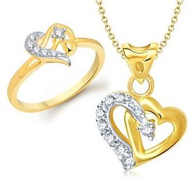 VK Jewels One Love Heart Shape Combo Ring  Pendant- VKCOMBO1072G