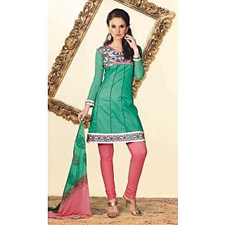 Fancy Empire Line Cotton Chiffon Salwar Suit  Green (Unstitched)