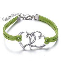 GirlZ! Valentine Day special Fashion Vintage rope multi heart bracelet - Green