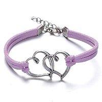 GirlZ! Valentine Day special Fashion Vintage rope multi heart bracelet - Purple