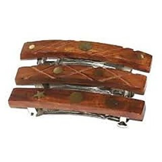 Wooden Hair Back Clip - 3 pcs