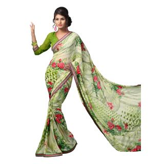 cd78936cb Venisa Printed Casual Wear Weightless Georgette Saree with Un-Stitched  Blouse