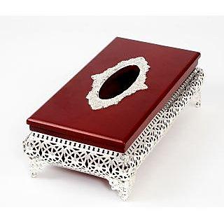 Silver wooden  net tissue box