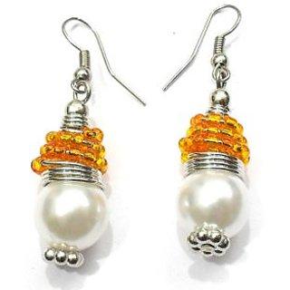 Beadworks Pearl Beaded Earrings in Orange Color