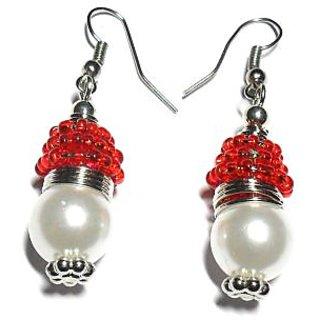 Beadworks Pearl Beaded Earrings in Red Color