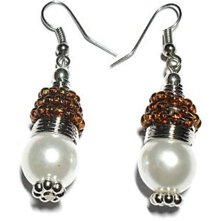 Beadworks Pearl Beaded Earrings in Brown Color