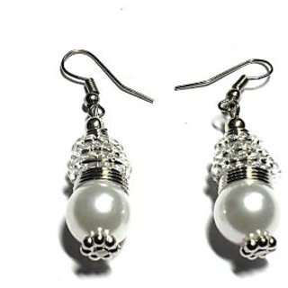 Beadworks Pearl Beaded Earrings in White Color