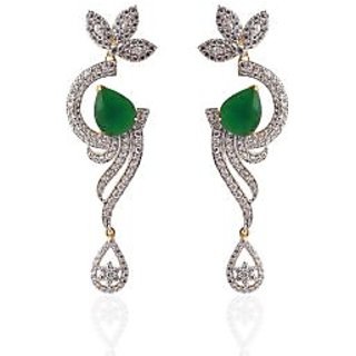 6339586219f Heena Contemporary Drop shape Green stone Earrings Prices in India-  Shopclues- Online Shopping Store