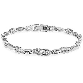 Buy Now OnlineMahi Rhodium Plated Beautiful Crystal Bracelet
