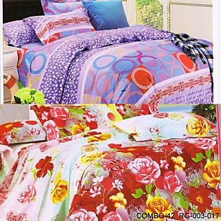 Valtellina set of 2 double bedsheet with 4 pillow cover(COMBO-42_RG-003-017)