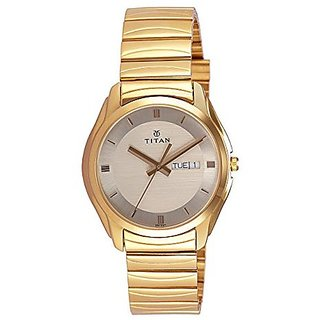 Titan Quartz Gold Dial Mens Watch-1578YM05