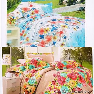 Valtellina set of 2 double bedsheet with 4 pillow cover(COMBO-79_RG-007-012)
