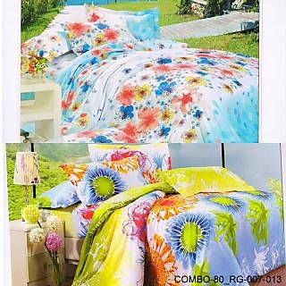 Valtellina set of 2 double bedsheet with 4 pillow cover(COMBO-80_RG-007-013)