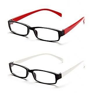 Red  White Rectangle Frame Eyeglasses