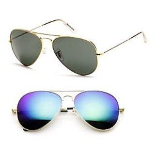 Cross Gate Gold-Blk Steel Mercury-Blue Unisex Sun Glasses Buy 1 Get 1 Free