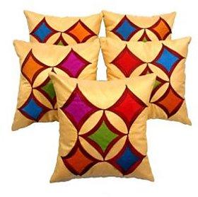 Zikrak Exim Beige Geometric Cushion Cover - Set Of 5 (12/12 INCHES)