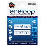 Sanyo Eneloop 2AAx2000mAh HR-3UTG-B2BTM Rechargeable Batteries (White)