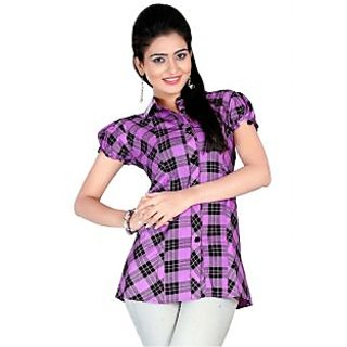 Triveni Half-Sleeved Mandarin Collar Purple Kurti- Kk237