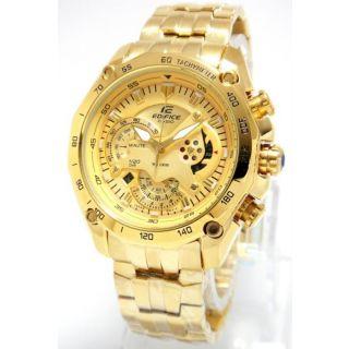 Casio Edifice Chronograph Watch EF-550D-Full Gold - 1 Year Warranty e92cf05197