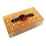Wooden Hand Carved & Brass Inlaid Napkin Box Paper Tissue Holder Box Handicraft