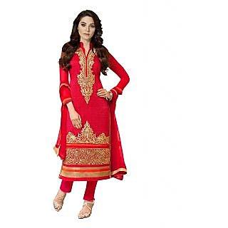 27387cad9c3e6 Shree Fashion Ronak Red Designer Georegette Straight Party Wear Suit