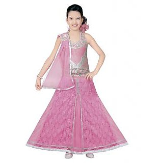 Saarah Pink Lehenga Choli Sets For Girls (Size: 3-4 yrs)