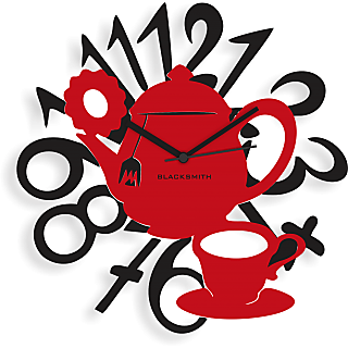 Blacksmith Tea Kettle Wall Clock Black & Red