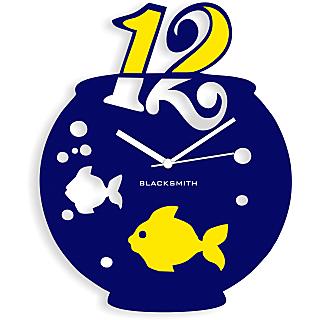 Blacksmith Aquarium Wall Clock Dark Blue & Yellow